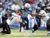 Former NFL running back Chris Johnson running the ball against the Jacksonville Jaguars