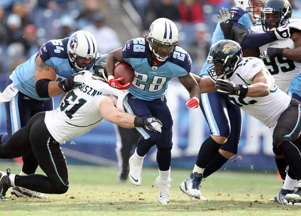 Former NFL running back Chris Johnson running the ball against the Jacksonville Jaguars