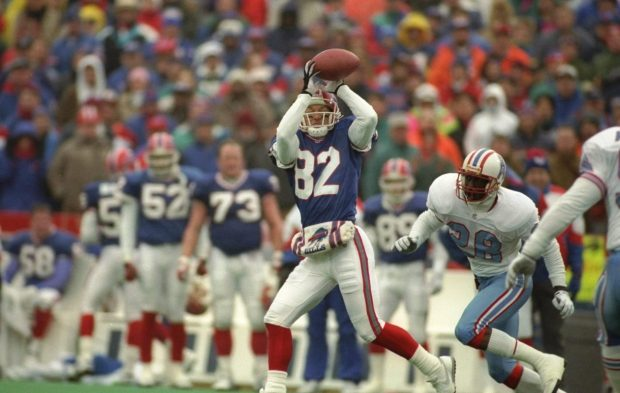 Former Buffalo Bills wide receiver Don Beebe making a reception against the Houston Oilers