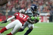 Former Seattle Seahawks wide receiver Brandon Marshall making a reception against the Arizona Cardinals