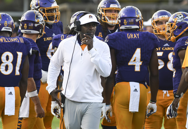 Former East Carolina Pirates head coach Scottie Montgomery looks on from the sidelines against the Virginia Tech Hokies