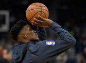 Former Minnesota Timberwolves star Jimmy Butler warming up before an NBA game this season
