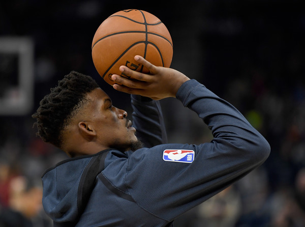 Former Minnesota Timberwolves star Jimmy Butler warming up before an NBA game this season