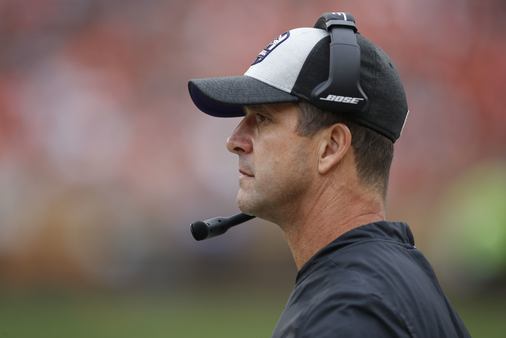 Baltimore Ravens head coach John Harbaugh looks on against the Cleveland Browns