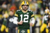 Green Bay Packers quarterback Aaron Rodgers participates in warm ups against the San Francisco 49ers
