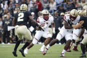 Boston College running back A.J. Dillon running the ball against the Purdue Boilermakers