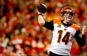 Cincinnati Bengals quarterback Andy Dalton attempting a pass against the Kansas City Chiefs