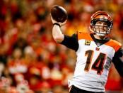 Cincinnati Bengals quarterback Andy Dalton attempting a pass against the Kansas City Chiefs