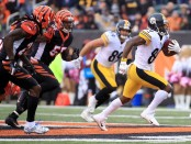 Pittsburgh Steelers wide receiver Antonio Brown running with the ball against the Cincinnati Bengals