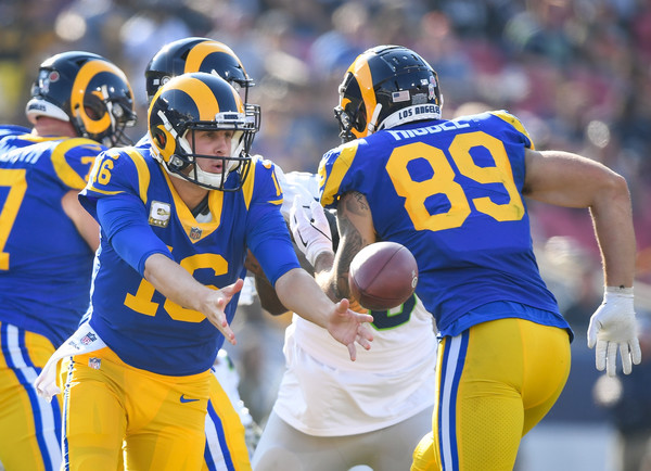 Los Angeles Rams quarterback Jared Goff pitches the ball against the Seattle Seahawks