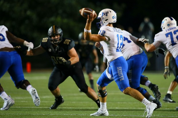 Middle Tennessee State quarterback Brent Stockstill throws a pass against the Vanderbilt Commodores