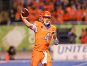 Boise State Broncos quarterback Brett Rypien attempts a pass against the Colorado State Rams