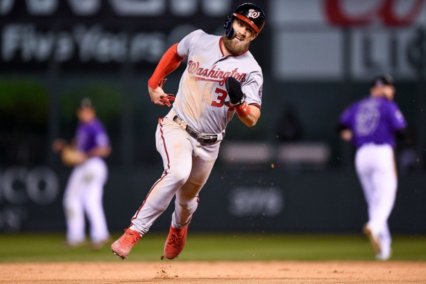 Washington Nationals star Bryce Harper running the bases against the Colorado Rockies