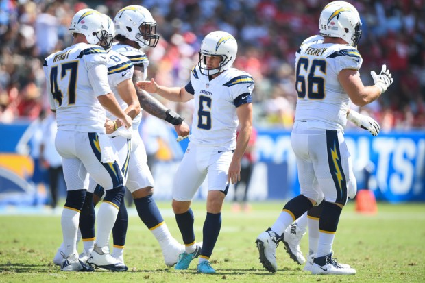 Former Los Angeles Chargers kicker Caleb Sturgis celebrates a field goal against the Kansas City Chiefs