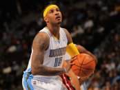 Denver Nuggets star Carmelo Anthony takes a free throw against the Miami Heat