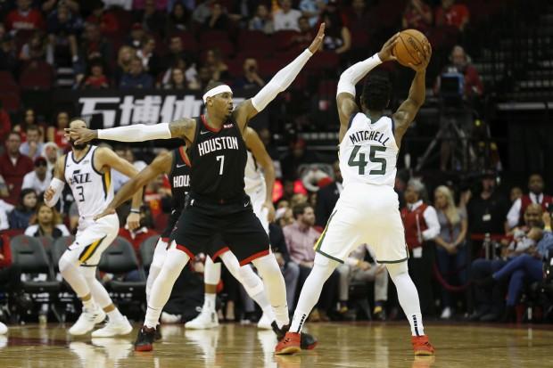 Disgruntled Houston Rockets star Carmelo Anthony defending Utah Jazz's Donovan Mitchell