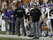 Kansas Jayhawks head coach David Beaty coaching against the Texas Longhorns