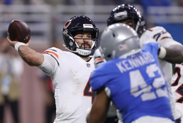 Chicago Bears quarterback Chase Daniel attempts a pass against the Detroit Lions on Thanksgiving