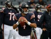 Chicago Bears quarterback Chase Daniel attempting a pass against the Tampa Bay Buccaneers