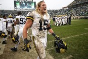 Michigan Wolverines linebacker Chase Winovich on the sidelines against the Michigan State Spartans