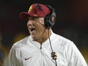 USC Trojans head coach Clay Helton reacts to a call on the sidelines against the Colorado Buffaloes