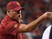 USC Trojans head coach Clay Helton yells from the sidelines against the Arizona Wildcats