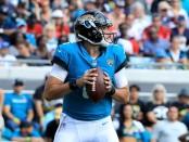 Jacksonville Jaguars quarterback Cody Kessler attempts a pass against the Houston Texas
