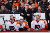 Former Philadelphia Flyers head coach Craig Berube reacts on the bench against the Arizona Coyotes