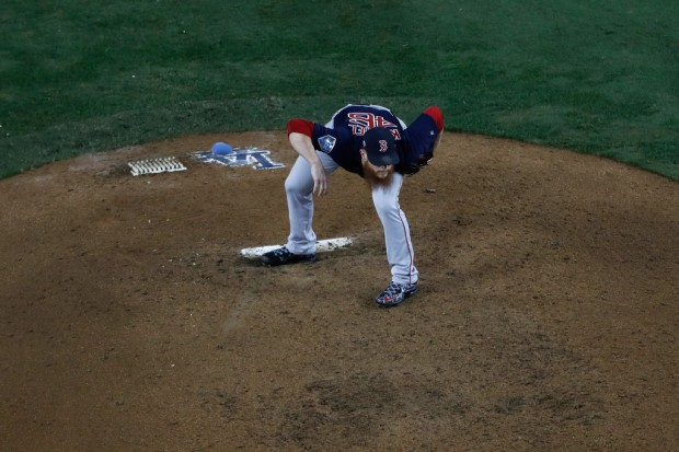 Former Boston Red Sox closer Craig Kimbrel pitching against the Los Angeles Dodgers in the World Series