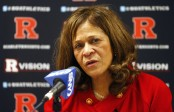 Rutgers women's basketball coach C. Vivian Stringer talks during a post-game press conference after defeating the South Florida Bulls