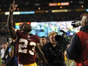 Washington Redskins safety DeAngelo Hall walks off the field after a win against the Dallas