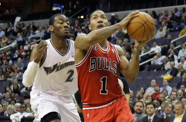 Chicago Bulls guard Derrick Rose playing against the Washington Wizards