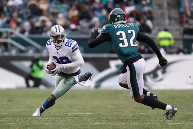 Former Dallas Cowboys wide receiver Dez Bryant runs with the ball after making a reception against the Philadelphia Eagles