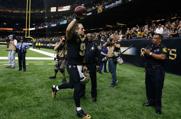 New Orleans Saints legend Drew Brees walking off the field after a win against the Cleveland Browns