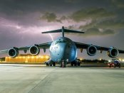 The C-17 planned for the Iowa Hawkeyes flyover from the 87th Air Base Wing