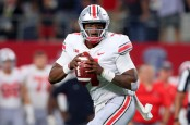 Ohio State Buckeyes quarterback Dwayne Haskins looks for a receiver against the TCU Horned Frogs
