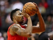 Washington Wizards center Dwight Howard warms up against the Miami Heat