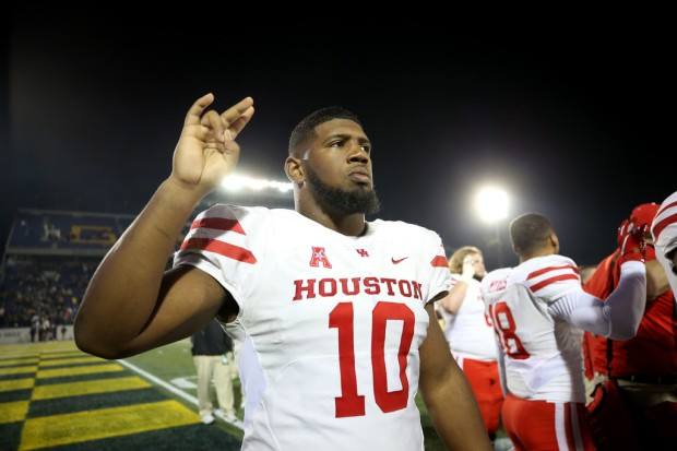 Houston Cougars star defensive lineman Ed Oliver looks on after a game against the Navy Midshipmen