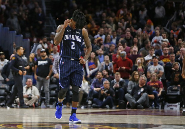 Orlando Magic guard Elfrid Payton reacts after his team lost to the Cleveland Cavaliers