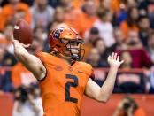Syracuse Orange quarterback Eric Dungey attempts a pass against the North Carolina Tar Heels
