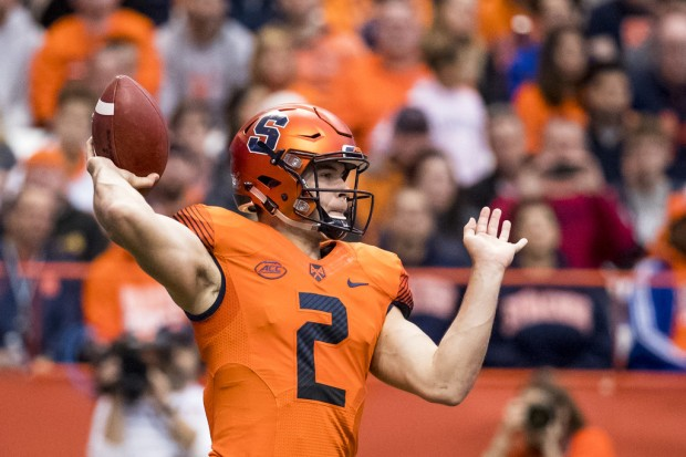 Syracuse Orange quarterback Eric Dungey attempts a pass against the North Carolina Tar Heels