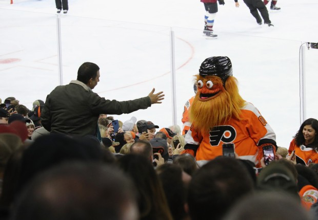 Philadelphia Flyers mascot Gritty working the crowd against the Colorado Avalanche