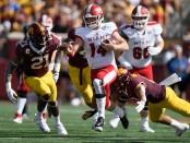 Miami (Ohio) RedHawks quarterback Gus Ragland running the ball against the Minnesota Golden Gophers