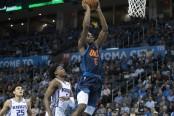 Oklahoma City Thunder guard Hamidou Diallo dunking the basketball against the Sacramento Kings