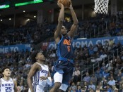 Oklahoma City Thunder guard Hamidou Diallo dunking the basketball against the Sacramento Kings