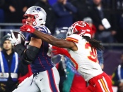 New England Patriots star tight end Rob Gronkowski making a reception against the Kansas City Chiefs