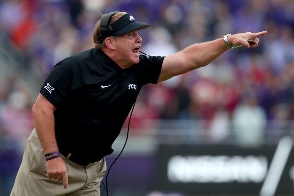 TCU Horned Frogs head coach Gary Patterson coaching against the Oklahoma Sooners