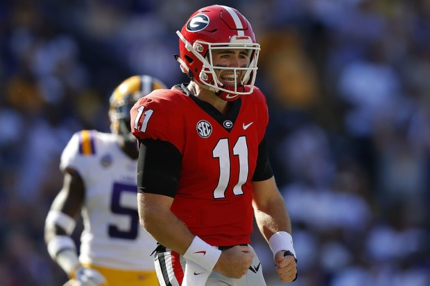 Georgia Bulldogs quarterback Jake Fromm reacts after throwing an incomplete pass against the LSU Tigers