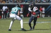 Jacksonville Jaguars cornerback Jalen Ramsey defending Houston Texans star receiver DeAndre Hopkins