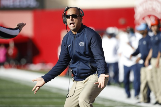 Penn State head coach James Franklin reacts to a call against the Indiana Hoosiers